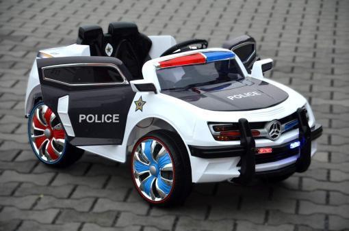 Elektro Kinderfahrzeug Kinderauto Polizei für Kinder ab 2 Jahre Schwarz mit Sirene 12V-1