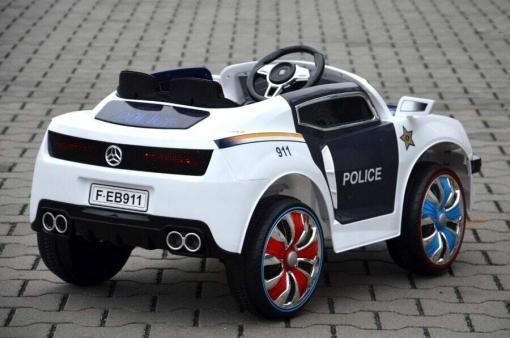 Elektro Kinderfahrzeug Kinderauto Polizei für Kinder ab 2 Jahre Schwarz mit Sirene 12V-2