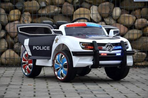 Elektro Kinderfahrzeug Kinderauto Polizei für Kinder ab 2 Jahre Schwarz mit Sirene 12V-31
