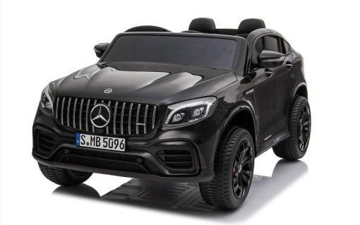 Elektro Kinderfahrzeug lizenziert Mercedes GLC AMG - mit Ledersitz, EVA Reifen und Lackiert - schwarz -1