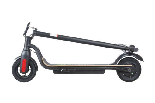Elektro Scooter, E-Scooter, Trettroller, 36V Brushless Motor - 6.6A mit LG Akku 20km/h, Bremsen, Tacho - S10 - klappbar Schwarz holz trittbrett-4