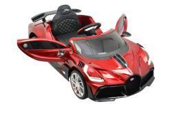 Kinderfahrzeug elektro von Bugatti lizenziert - Divo Sportwagen- mit Fernsteuerung, 12V, EVA und Ledersitz - Rot- 1