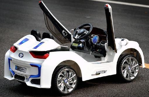 Elektro Kinderfahrzeug Kinderauto für Kinder ab 2 Jahre 12V Weiß Lichter LED Flügeltüren-2