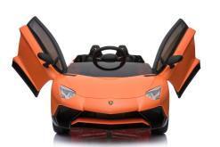 elektro Kinderfahrzeug von Lamborghini lizenziert - Aventador sv svj- mit Fernsteuerung, 12V, EVA und Ledersitz - orange- 2