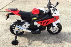 Elektro Kindermotorrad Bmw S1000RR lizenziert Rot Weiß ab 3 Jahre Groß 12V-4