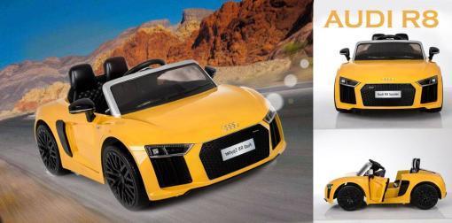 Elektro Kinderfahrzeug Kinderauto Audi R8 für Kinder ab 2 Jahren Sportwagen Gelb 12V-2