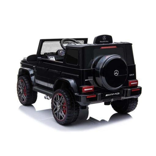 mercedes g63 amg elektro kinderfahrzeug ferngesteuert mit musik eva und leder - schwarz -4