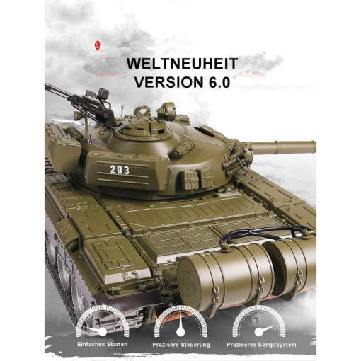 Ferngesteuerter Panzer mit Schuss Russicher T-72 Heng Long 116 , Stahlgetriebe -2,4Ghz V 6.0 -PRO 6