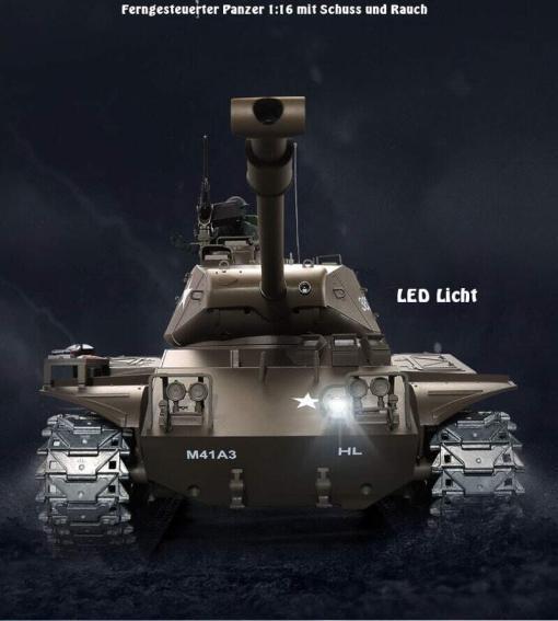 Ferngesteuerter Panzer mit Schuss U.S. M41 A3 WALKER BULLDOG Heng Long 1-16 -2,4Ghz V6.0 -PRO -10