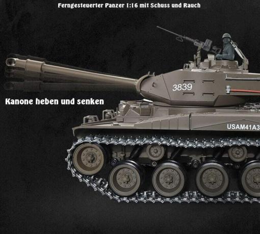 Ferngesteuerter Panzer mit Schuss U.S. M41 A3 WALKER BULLDOG Heng Long 1-16 -2,4Ghz V6.0 -PRO -12