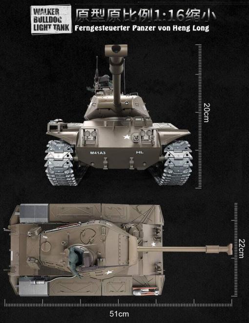 Ferngesteuerter Panzer mit Schuss U.S. M41 A3 WALKER BULLDOG Heng Long 1-16 -2,4Ghz V6.0 -PRO -13