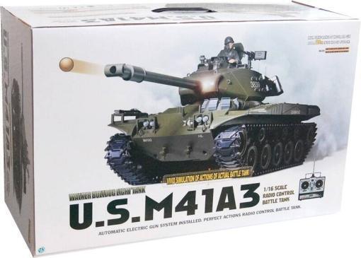 Ferngesteuerter Panzer mit Schuss U.S. M41 A3 WALKER BULLDOG Heng Long +Metallgetriebe -2,4Ghz -V 6.0 -7
