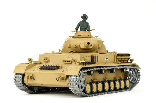 """Ferngesteuerter Panzer """"Kampfwagen IV Ausf.F-1"""" Heng Long 1:16 Sandfarbe mit Rauch,Sound und Schuss, Metallgetriebe -2,4Ghz -PRO-10"""