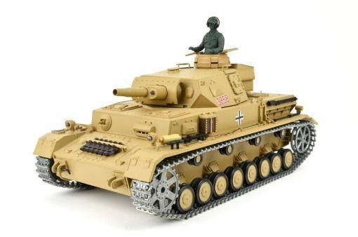 """Ferngesteuerter Panzer """"Kampfwagen IV Ausf.F-1"""" Heng Long 1:16 Sandfarbe mit Rauch,Sound und Schuss, Metallgetriebe -2,4Ghz -PRO-12"""
