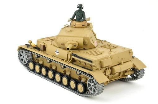 """Ferngesteuerter Panzer """"Kampfwagen IV Ausf.F-1"""" Heng Long 1:16 Sandfarbe mit Rauch,Sound und Schuss, Metallgetriebe -2,4Ghz -PRO-3"""