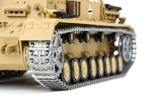 """Ferngesteuerter Panzer """"Kampfwagen IV Ausf.F-1"""" Heng Long 1:16 Sandfarbe mit Rauch,Sound und Schuss, Metallgetriebe -2,4Ghz -PRO-7"""