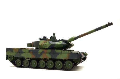 """Ferngesteuerter Panzer mit Schuss """"Deutscher Leopard 2A6"""" Heng Long 1:16 mit Rauch&Sound und Stahlgetriebe -2,4Ghz V6.0 -12"""