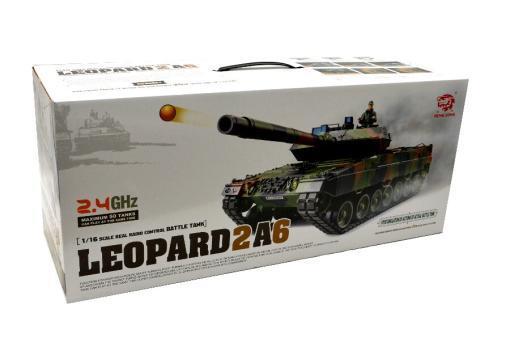 """Ferngesteuerter Panzer mit Schuss """"Deutscher Leopard 2A6"""" Heng Long 1:16 mit Rauch&Sound und Stahlgetriebe -2,4Ghz V6.0 -13"""