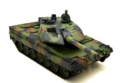 """Ferngesteuerter Panzer mit Schuss """"Deutscher Leopard 2A6"""" Heng Long 1:16 mit Rauch&Sound und Stahlgetriebe -2,4Ghz V6.0 -8"""