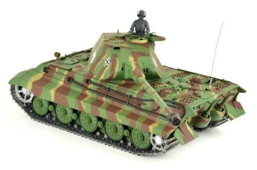 panzer ferngesteuert mit schussfunktion von heng long - deutscher königstiger mit metallgetriebe und metallketten - pro-10