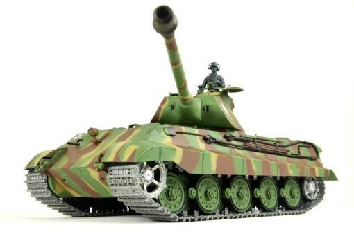 panzer ferngesteuert mit schussfunktion von heng long - deutscher königstiger mit metallgetriebe und metallketten - pro-2