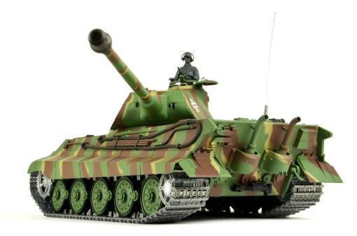 panzer ferngesteuert mit schussfunktion von heng long - deutscher königstiger mit metallgetriebe und metallketten - pro-3