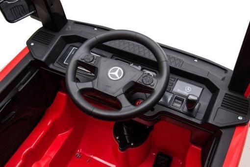 elektro kinderfahrzeug mercedes actros lkw off-road mit leder und eva reifen -ferngesteuert mit musik und 12V Akku - rot -4