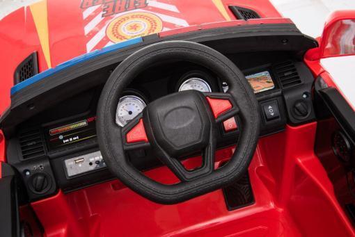 """Kinderfahrzeug - Elektro Auto """"Feuerwehr RR002"""" - 12V7AH Akku,2 Motoren- 2,4Ghz Fernsteuerung, MP3+Sirene-6"""