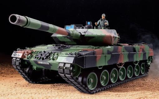 ferngesteuerter panzer leopard 2a6 deutsch pro mit metallgetriebe und metallketten - 1